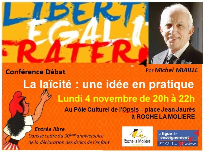 visuel RS conférence laicité Michel Miaille Roche la Molière